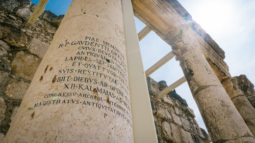 column with ancient writing