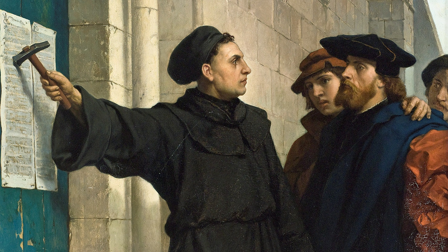 painting of Martin Luther nailing his 99 theses to the church door