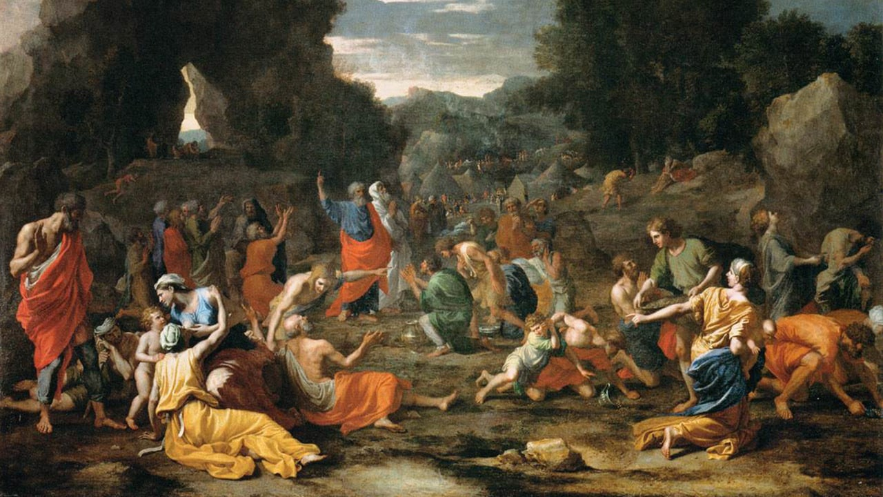 painting of Israelites collecting manna in the desert